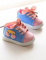 Темно-синий Розовый Светло-синий-Для детей-Повседневный-Полотно-На плоской подошве-Обувь для малышей-Мокасины и Свитер