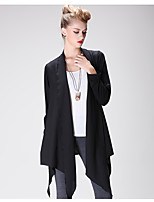 Women's Work Boho Street chic Long Cardigan,Solid Asymmetrical Long Sleeve Others Spring Thin Micro-elastic