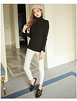 Real shot in the long section turtleneck solid color tight T-shirt Slim thin sweater bottoming