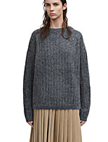 Women's Casual/Daily Vintage Simple Regular Pullover,Solid Round Neck Long Sleeve Wool Spring Fall Medium Micro-elastic