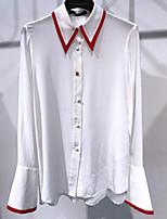 Для женщин На каждый день Весна Блуза Рубашечный воротник,Простое Однотонный Длинный рукав,Хлопок,Тонкая