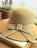 Women's Fashion Straw Hat Sun Hat Wide Brim/Bucket Hat Cute Casual Bowknot Summer Beige/Khaki/Fuchsia