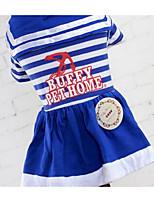 Chien Robe Vêtements pour Chien Eté Marin Mignon Mode Décontracté / Quotidien Rouge Bleu