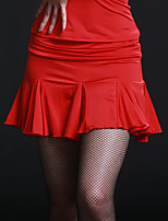 Latin Dance Bottoms Women's Training Chinlon Viscose Ruffles 1 Piece Natural Skirt