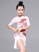 Latin Dance Dress Kid's Performance Viscose Pattern/Print 1 Pieces Half Sleeve Dress