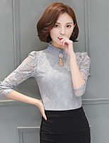 Women's Going out Work Sexy Cute Spring Summer Blouse,Solid Round Neck Long Sleeve Rayon Thin