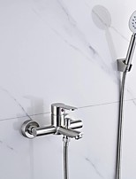 Contemporary Wall Mounted Stainless Steel Nickel Brushed Ceramic Valve Single Handle Two Holes Bathtub Faucet with Handshower