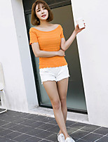 Women's Going out Casual/Daily Short Pullover,Solid Boat Neck Short Sleeve Cotton Spring Summer Thin Micro-elastic