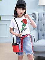 Girls' Casual/Daily Sports Holiday Solid Floral Sets,Cotton Summer Short Sleeve Clothing Set