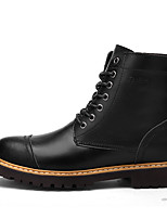 Men's Boots Spring Summer Fall Winter Comfort Leather Office & Career Casual Low Heel Black Dark Brown Light Brown