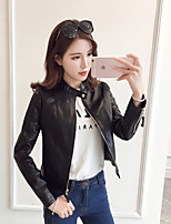 Women's Casual/Daily Club Holiday Sexy Spring Fall Leather Jacket,Solid Stand Long Sleeve Short Others
