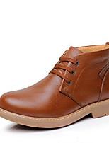 Черный Желтый Коричневый-Для мужчин-Для офиса Повседневный-Кожа-На низком каблуке-Удобная обувь-Ботинки