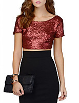 Women's Casual/Daily Club Sexy Simple Summer Fall T-shirtSolid Backless Bare Midriff Sequins All Match Fashion Round Neck Short Sleeve Medium
