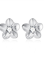 Lovely Silver Plated Clear Crystal Flower Stud Earrings for Party Women Jewelry Accessiories