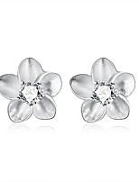 Boucles d'oreille goujon Cristal Plaqué argent A Fleurs Forme de Fleur Argent Bijoux Mariage Soirée Halloween Quotidien Décontracté1