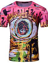 Tee-shirt Homme,Géométrique Décontracté / Quotidien Chic de Rue Manches Courtes Col Arrondi Modal Polyester