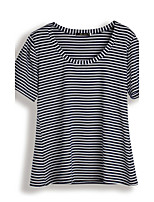 Women's Casual/Daily Work Vintage Sophisticated Tank Top,Striped Round Neck Short Sleeve Cotton Rayon