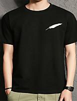 Herren Druck Einfach Lässig/Alltäglich T-shirt,Rundhalsausschnitt Sommer Kurzarm Baumwolle Transparent