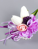 Fleurs de mariage Forme libre Roses Lis Pivoines Petit bouquet de fleurs au poignet Mariage La Fête / soirée Satin