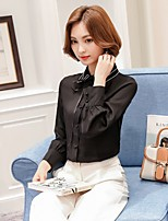 Women's Casual/Daily Formal Work Cute Street chic Blouse,Solid Shirt Collar Long Sleeve Polyester