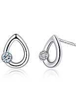 Concise Silver Plated Clear Crystal Waterdrp Shape Stud Earrings for Wedding Party Women Jewelry Accessiories