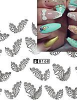 5pcs Black Lace Stickers +5pcs White Lace Stickers Стикер искусства ногтя Вода Передача Переводные картинки Кружева наклейкимакияж