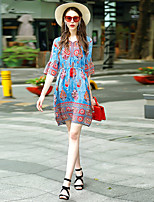 Women's Going out Casual/Daily Work Loose Dress,Embroidered Round Neck Above Knee ½ Length Sleeve Cotton Polyester Spring Summer High Rise