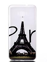 Para Brilha no Escuro Áspero Translúcido Estampada Capinha Capa Traseira Capinha Torre Eiffel Macia TPU para AsusAsus Zenfone 3 (ZE552KL)