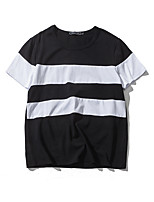 Great summer new black and white striped short-sleeved T-shirt men wind Aberdeen