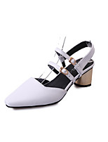 Women's Heels Spring Summer Fall Comfort PU Dress Casual Chunky Heel Buckle