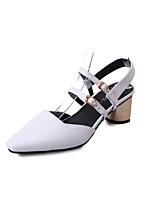 Mujer-Tacón Robusto-Confort-Tacones-Vestido Informal-PU-Blanco Negro