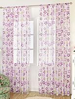 Jeden panel Window Léčba Neoklasika Středomořský Evropský , Kostkovaný Obývací pokoj Polyester Materiál Sheer Záclony Shades Home dekorace