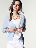 Women's Going out Casual/Daily Short Cardigan,Solid Round Neck Long Sleeve Polyester Spring Fall Thin Micro-elastic