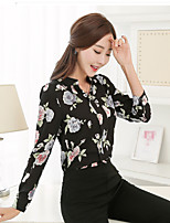Women's Going out Simple Blouse,Floral V Neck Long Sleeve Others