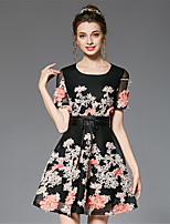 Women's Plus Size Fashion Vintage Sophisticated A Line Sheath Skater Dress Patchwork Three Dimensional Flower Net Cloth Belt