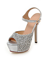 Women's Sandals Summer Fall Slingback Synthetic Office & Career Party & Evening Dress Stiletto Heel Sequin