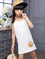 Casual/Daily Beach Holiday Solid Print Tee,Cotton Summer Sleeveless