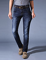 Men's Straight Jeans PantsCasual/Daily Simple Solid Mid Rise Button Cotton Polyester Micro-elastic All Seasons HY-103