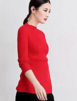 Damen Standard Pullover-Lässig/Alltäglich Einfach Solide Rollkragen Langarm Wolle Frühling Herbst Mittel Mikro-elastisch