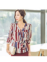 Women's Casual/Daily Simple Fall Shirt Skirt Suits,Striped V Neck Long Sleeve Cotton