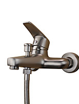 Contemporary Tub And Shower Widespread with  Ceramic Valve Single Handle Two Holes for  Stainless Steel , Bathtub Faucet