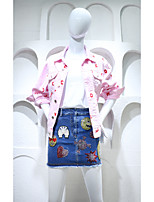 Women's Going out Cute Spring Denim Jacket,Letter Peaked Lapel Long Sleeve Short Cotton