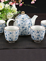 Flowery High Temperature Porelain Tea set pot(550ml) with Five Cups(150ml each)