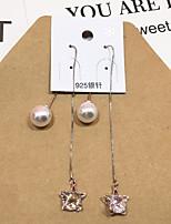 Drop Earrings Ball Earrings Imitation Pearl AAA Cubic Zirconia Flower Style Pendant Hypoallergenic Multi-ways Wear Crystal Zircon Star