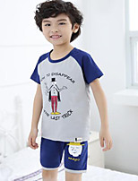 Мальчики Наборы На каждый день Хлопок Животные принты Лето Набор одежды