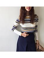 Damen Standard Strickjacke-Ausgehen Lässig/Alltäglich Einfach Niedlich Gestreift Einfarbig Rundhalsausschnitt Langarm AcrylFrühling