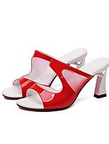 Damen-Slippers & Flip-Flops-Hochzeit Kleid Party & Festivität-Tüll Leder-Blockabsatz-Komfort Club-Schuhe-Weiß Schwarz Rot
