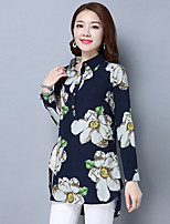 Women's Going out Casual/Daily Holiday Vintage Chinoiserie Spring Summer Shirt,Floral Shirt Collar ¾ Sleeve Cotton Thin