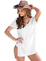 Tee-shirt Femme,Couleur Pleine Décontracté / Quotidien Plage Vacances simple Manches Courtes Col Arrondi Polyester Spandex