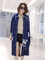 Women's Casual/Daily Simple Spring Denim Jacket,Solid Shirt Collar Long Sleeve Regular Cotton